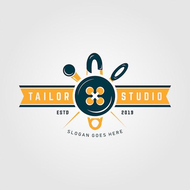Modèle de logo premium tailor studio Vecteur Premium