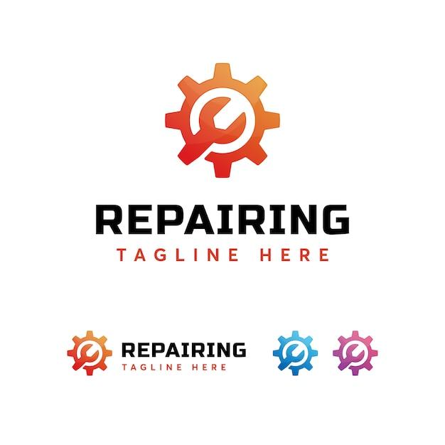 Modèle De Logo De Réparation D'équipement Vecteur Premium