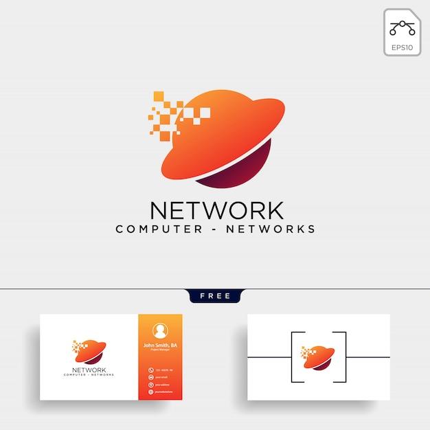 Modèle de logo de réseau de globe numérique Vecteur Premium