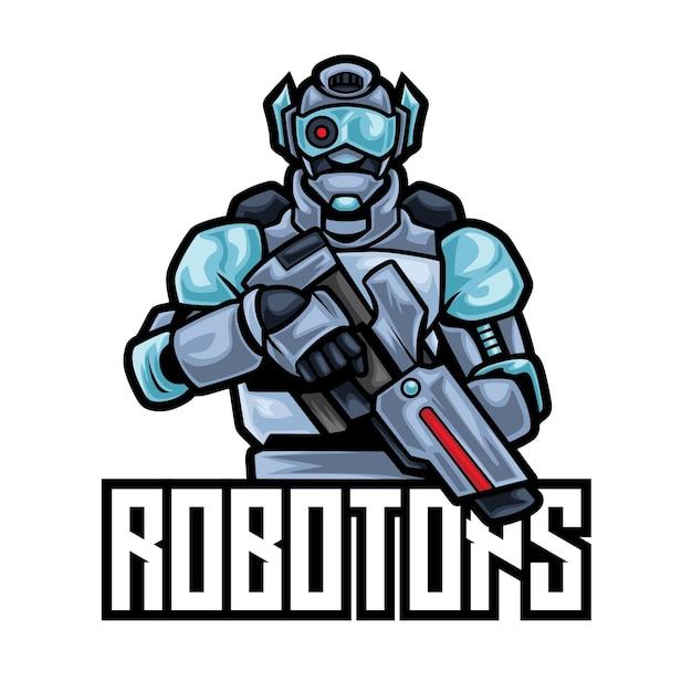 Modèle De Logo Robotops Robot Esport Vecteur Premium
