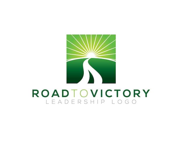 Modèle de logo route vers la victoire Vecteur Premium