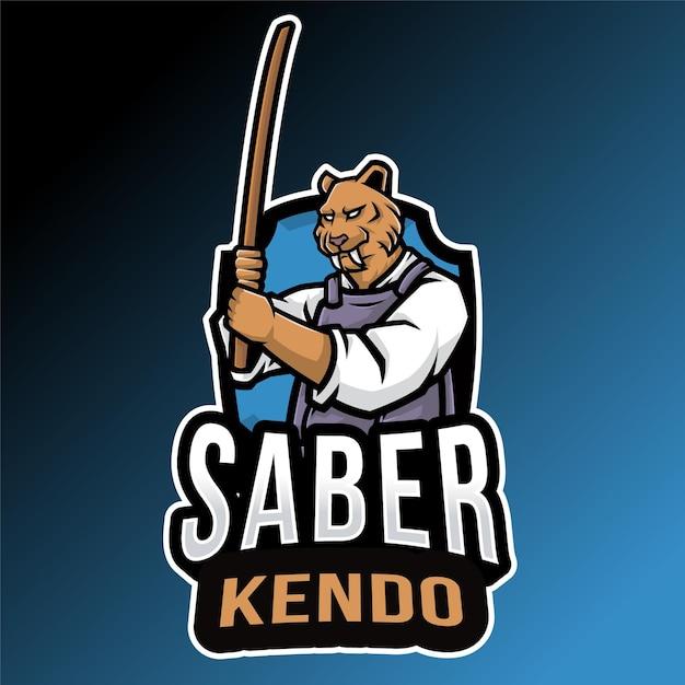 Modèle De Logo Sabertooth Kendo Vecteur Premium