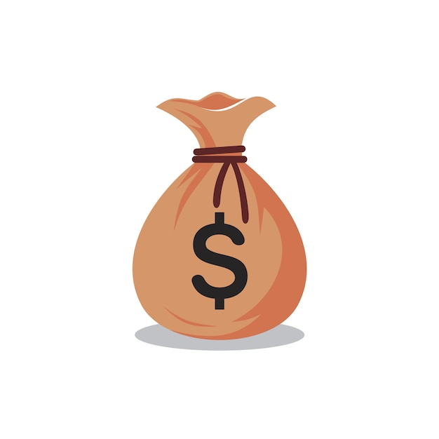 Modèle de logo de sac d'argent, illustration vectorielle de sac d'argent Vecteur Premium