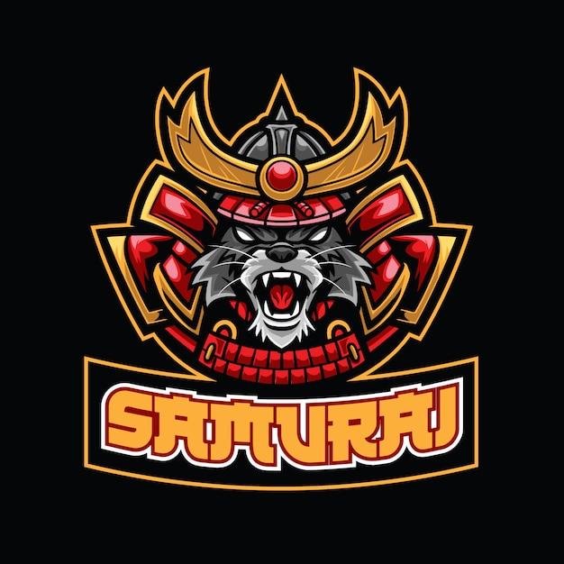 Modèle De Logo Samurai Cat Esport Vecteur Premium