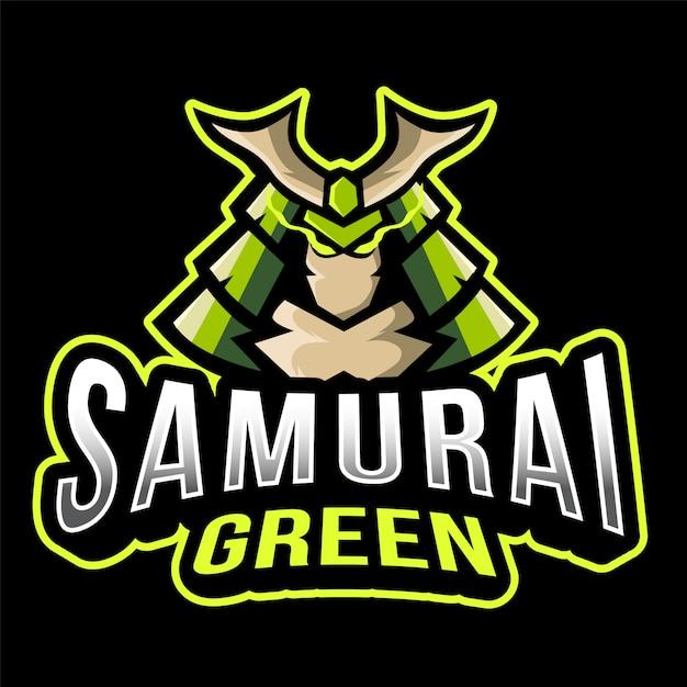 Modèle De Logo Samurai Green Esport Vecteur Premium