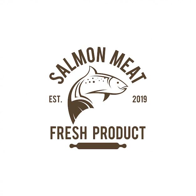 Modèle De Logo De Saumon. Vecteur Premium