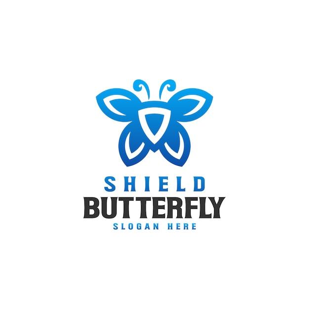 Modèle De Logo Shield Butterfly Vecteur Premium