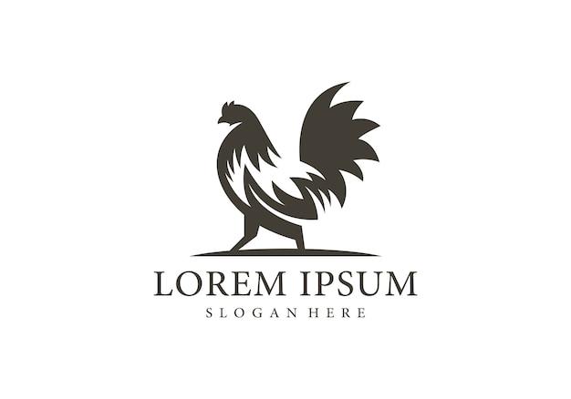 Modèle De Logo De Silhouette De Coq Vecteur Premium
