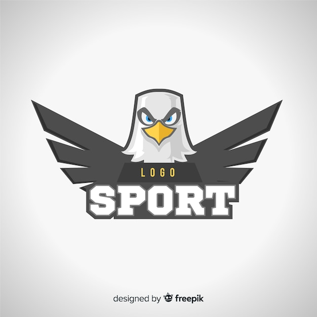 Modèle de logo de sport moderne avec aigle Vecteur gratuit