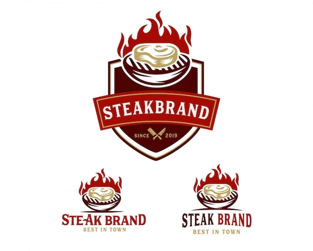 Modèle de logo steak store Vecteur Premium