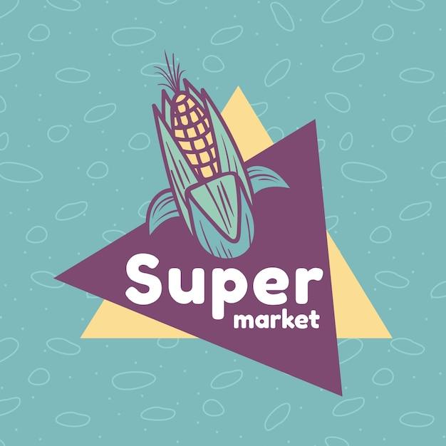 Modèle De Logo De Supermarché Avec Du Maïs Vecteur Premium