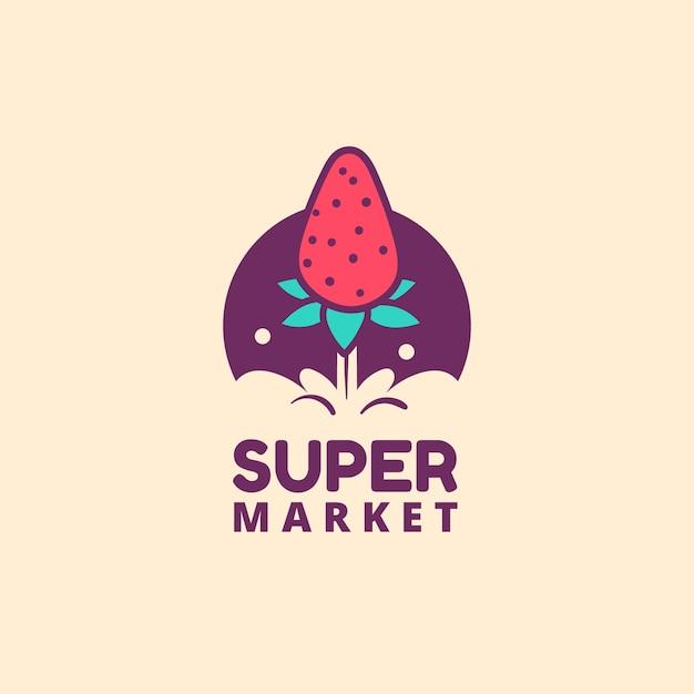 Modèle De Logo De Supermarché Avec Fraise Vecteur Premium