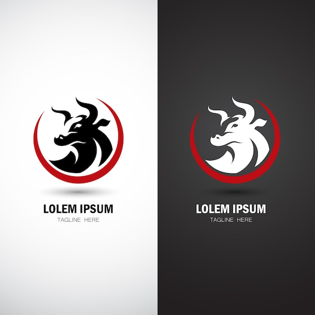 Modèle De Logo De Taureau Moderne Vecteur Premium