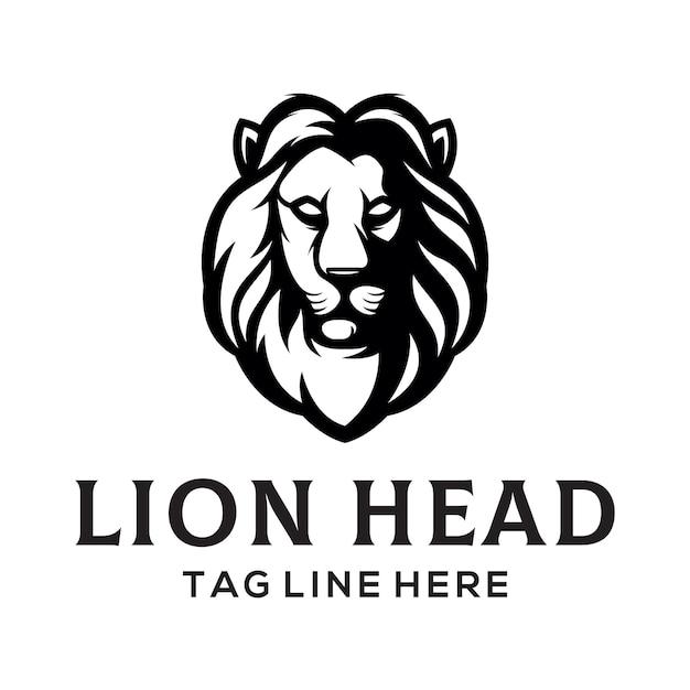 Modèle de logo tête de lion Vecteur Premium