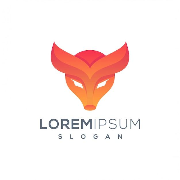 Modèle de logo tête de vache Vecteur Premium