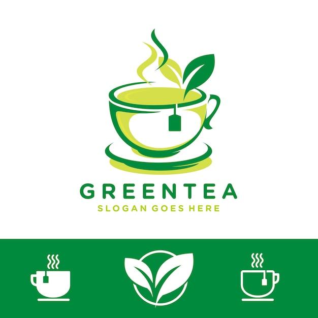 Modèle de logo de thé Vecteur Premium