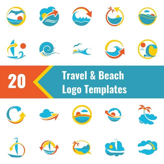 Modèle de logo travel and beach Vecteur Premium