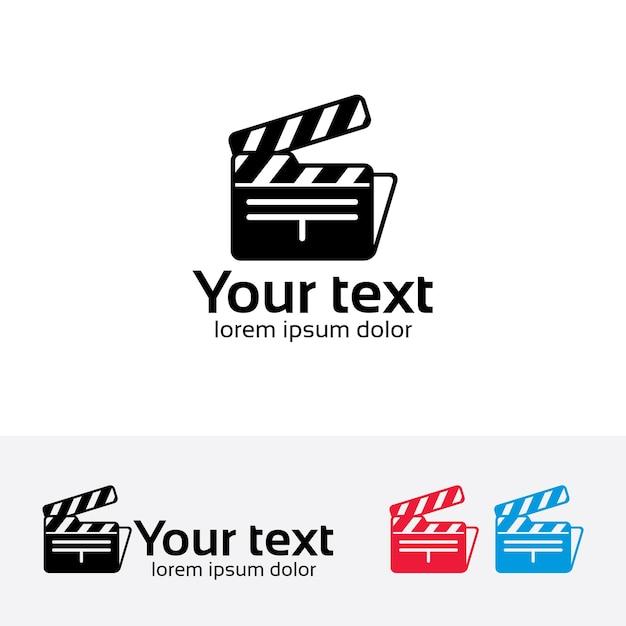 Modèle de logo de vecteur de dossier de film. Vecteur Premium