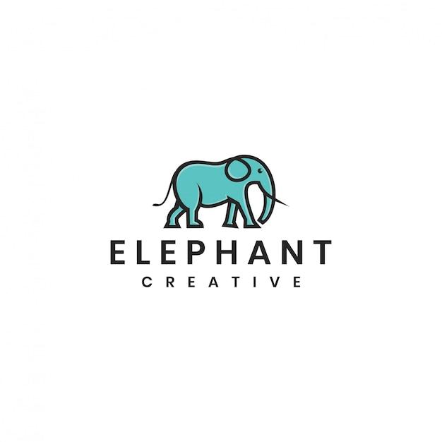 Modèle de logo vectoriel éléphant minimaliste Vecteur Premium