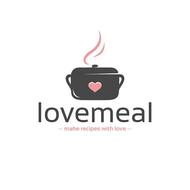 Modèle De Logo Vectoriel Love Meal Vecteur Premium