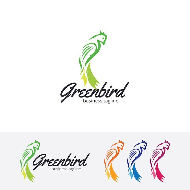 Modèle de logo vectoriel oiseau vert Vecteur Premium