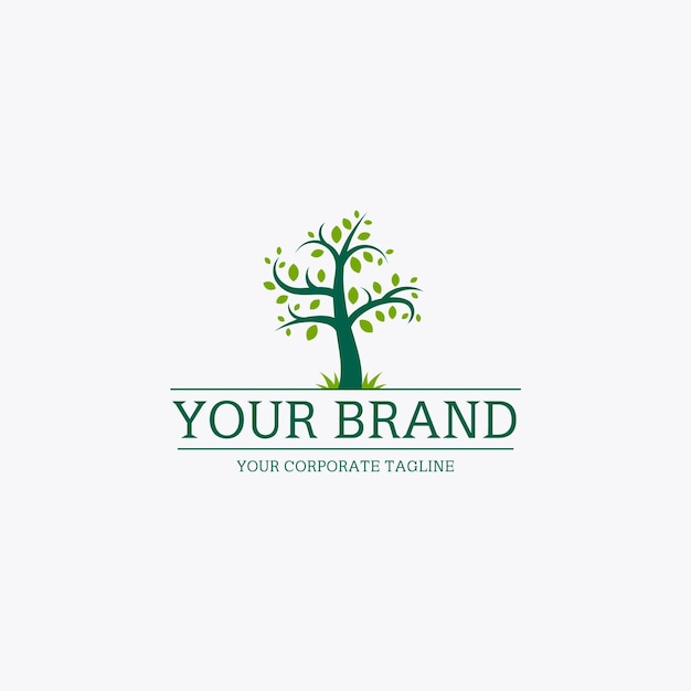 Modèle De Logo De Vie D'arbre Avec Slogan Vecteur Premium