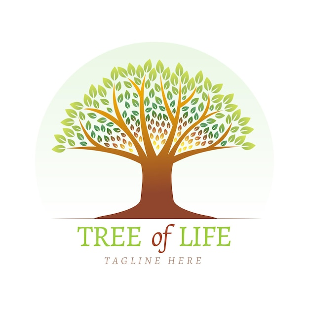 Modèle De Logo De Vie D'arbre Vecteur Premium