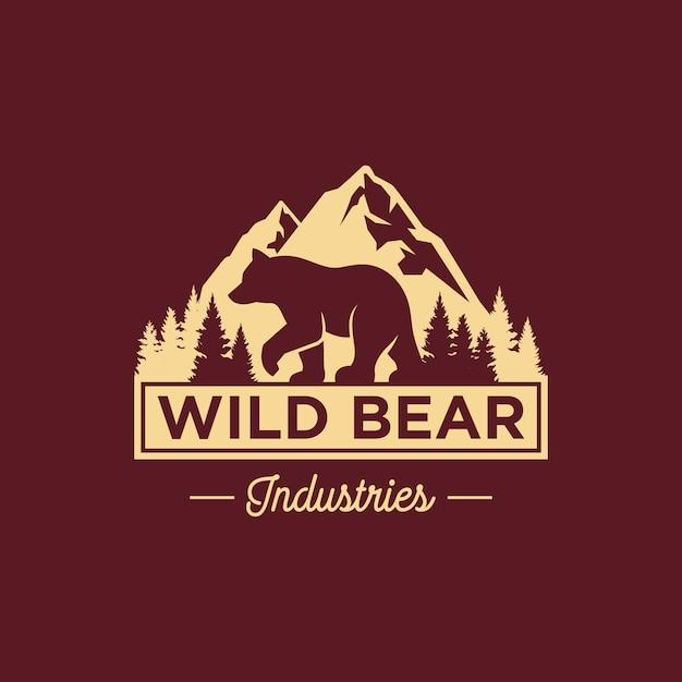 Modèle de logo vintage bear Vecteur Premium