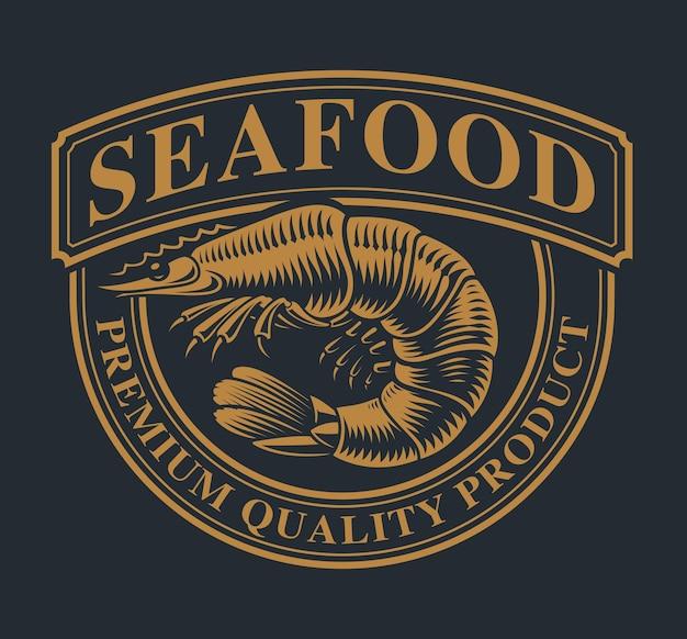 Modèle De Logo Vintage Avec Une Crevette Pour Le Thème Des Fruits De Mer Sur Un Fond Sombre. Vecteur Premium