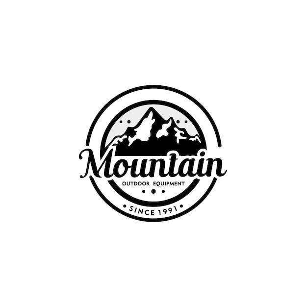 Modèle de logo vintage mountain Vecteur Premium