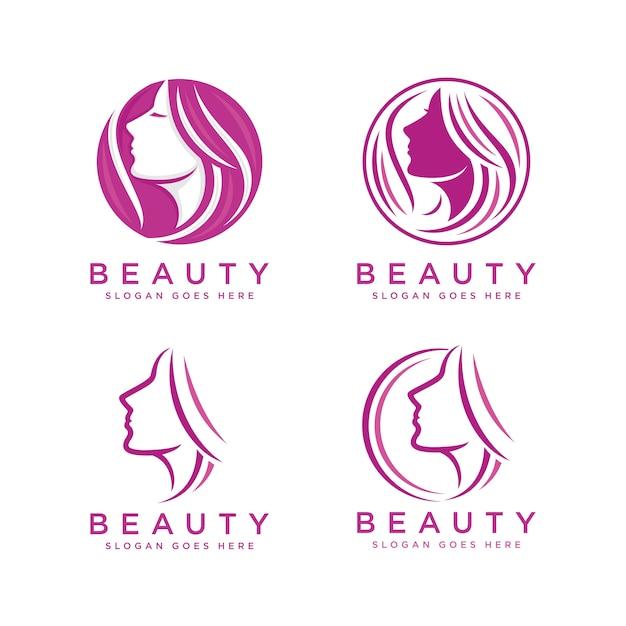 Modèle De Logo De Visage De Femme Beauté Vecteur Premium