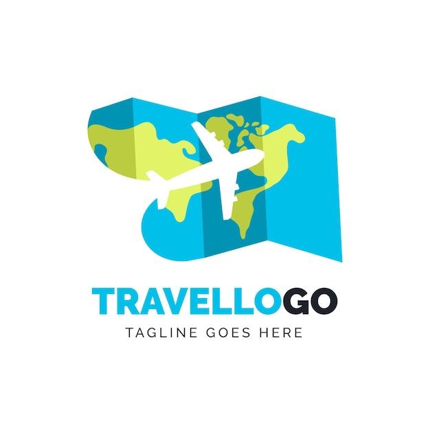 Modèle De Logo De Voyage Avec Carte Et Avion Vecteur gratuit