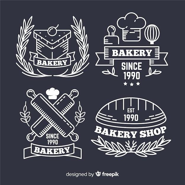 Modèle de logos de boulangerie d'art en ligne Vecteur gratuit