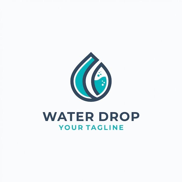 Modèle De Logotype De Gouttes D'eau Vecteur Premium