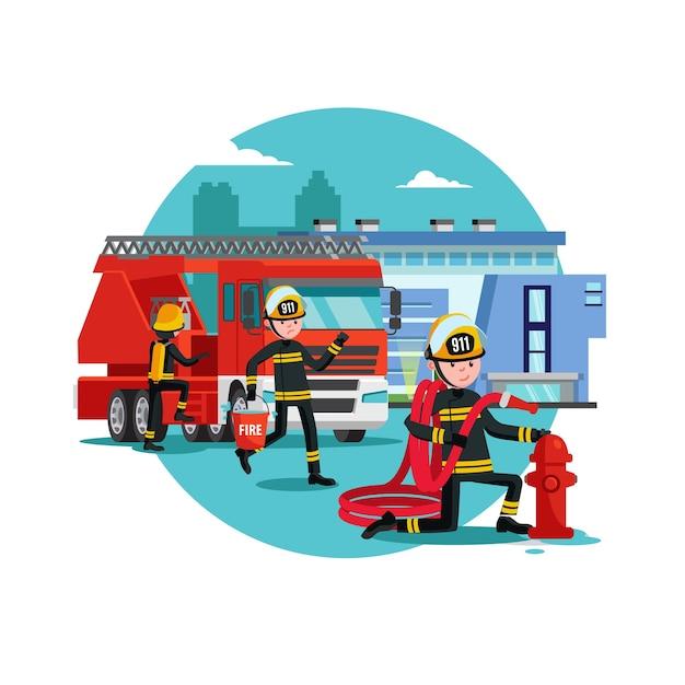 Modèle De Lutte Contre Les Incendies Coloré Vecteur gratuit
