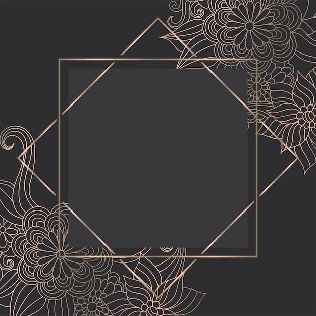 Modèle de luxe en or avec des fleurs dessinées à la main zentangle Vecteur gratuit