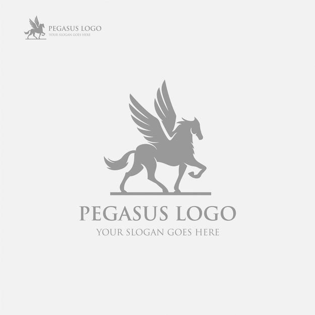 Modèle de luxe pegasus logo noir Vecteur Premium