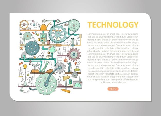 Modèle De Machines Avec Un Espace Pour Le Texte. Mécanisme De Dessin Animé De Doodle Avec Des Personnes Et Des Roues Dentées. Vecteur Premium