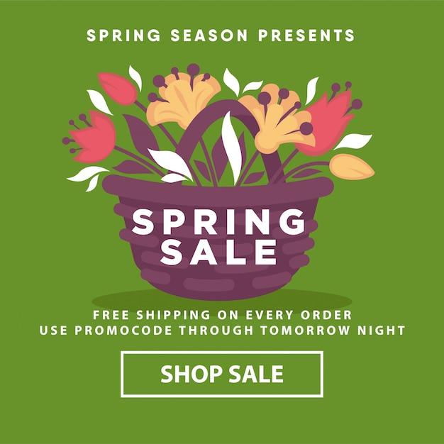 Modèle de magasin de vente web affiche de printemps Vecteur Premium