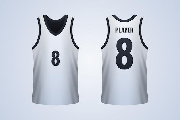 Modèle de maillot de basketball blanc devant et derrière Vecteur Premium