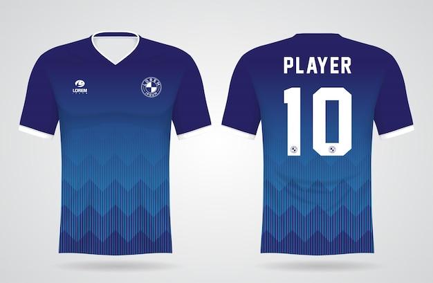 Modèle De Maillot Bleu De Sport Pour Les Uniformes D'équipe Et La Conception De T-shirt De Football Vecteur Premium