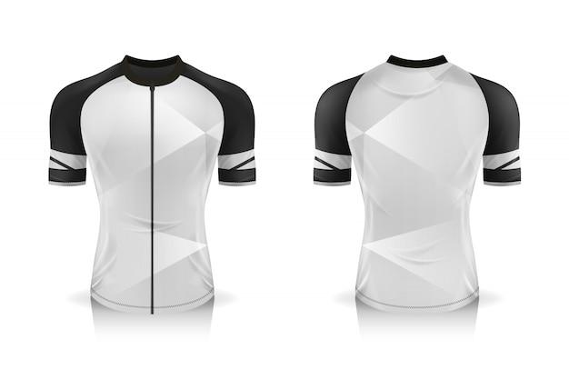 Modèle De Maillot De Cyclisme. Mock Up Sport T Shirt Col Rond Uniforme Pour Les Vêtements De Vélo. Vecteur Premium
