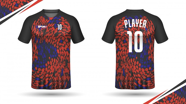 Modèle De Maillot De Football Conception De T-shirt De Sport Vecteur Premium