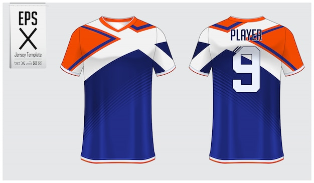 Modèle de maillot de football ou kit de football Vecteur Premium