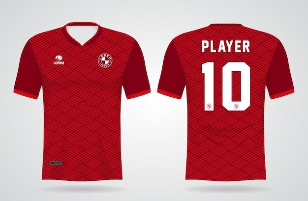 Modèle De Maillot Rouge De Sport Pour Les Uniformes D'équipe Et La Conception De T-shirt De Football Vecteur Premium