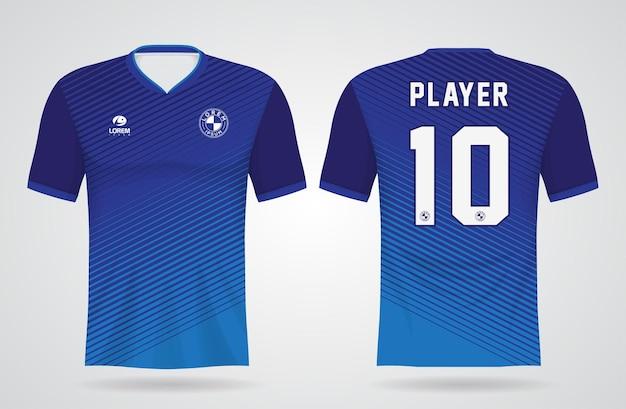 Modèle De Maillot De Sport Bleu Pour Les Uniformes D'équipe Et La Conception De T-shirt De Football Vecteur Premium