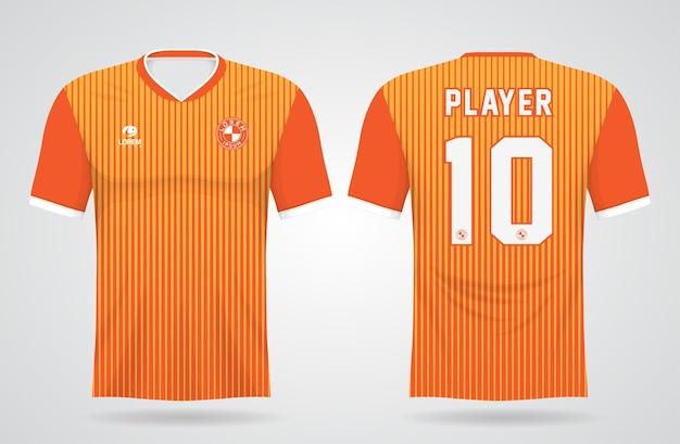 Modèle De Maillot De Sport Orange Pour Les Uniformes D'équipe Et La Conception De T-shirt De Football Vecteur Premium