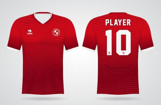 Modèle De Maillot De Sport Rouge Pour Les Uniformes D'équipe Et La Conception De T-shirt De Football Vecteur Premium