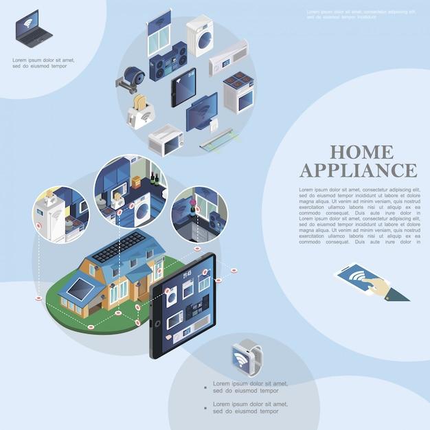Modèle De Maison Intelligente Isométrique Avec Appareils Et Appareils Ménagers Modernes Et Télécommande Des Appareils Ménagers à Partir De La Tablette Vecteur gratuit