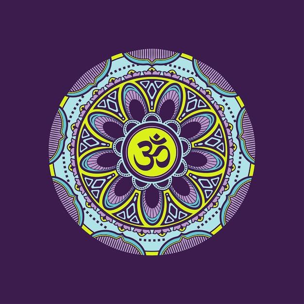 Modèle De Mandala Coloré Décoratif Avec Symbole Om. Vecteur Premium